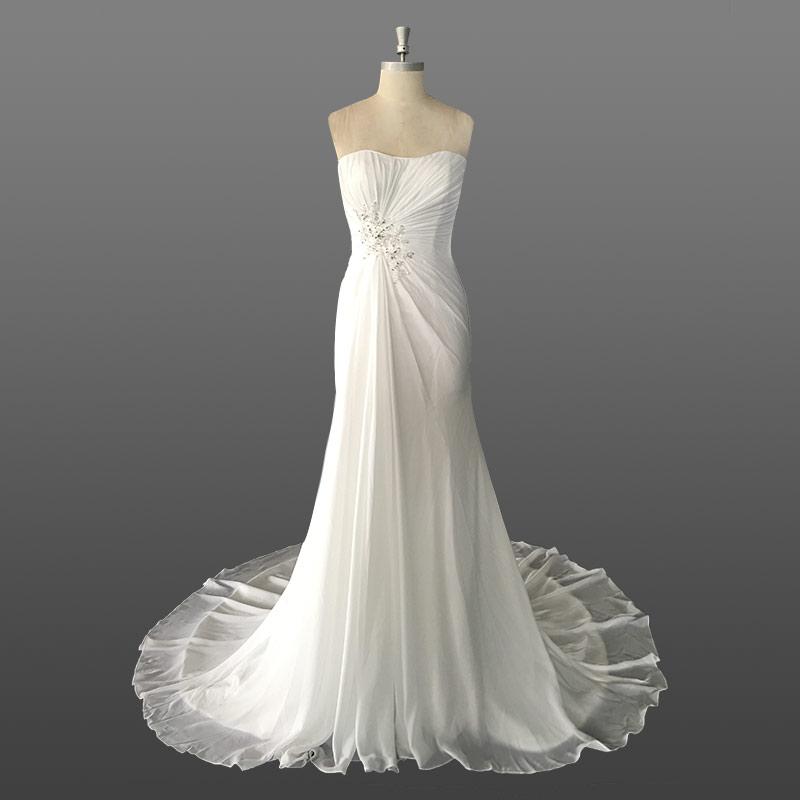 Venta al por mayor vestido de novia gasa plisada-Compre online los ...