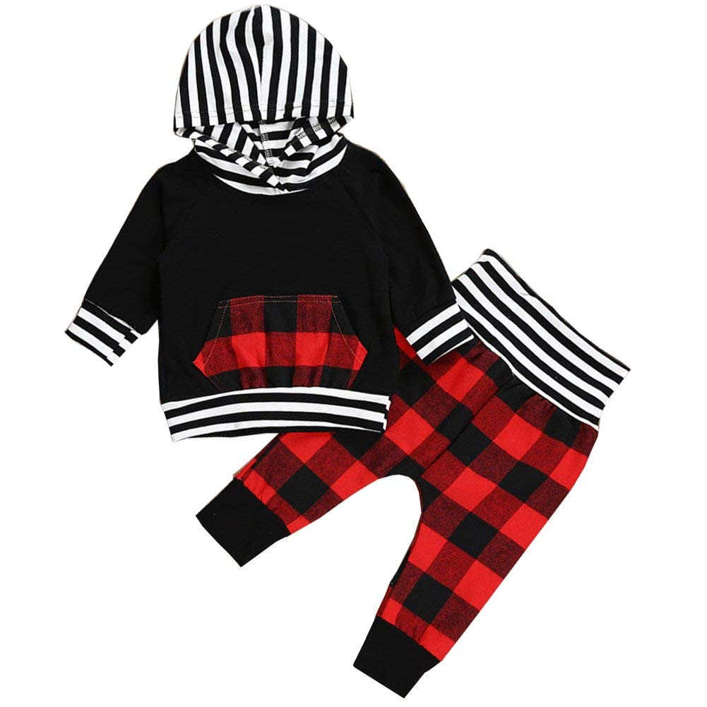 397c2c71384 Get Quotations · Scfcloth Newborn Baby Boys Red Plaid Print Clothing Set Long  Sleeve Hoodie Tops + Pants Outfits