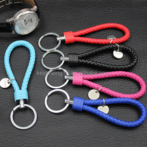 Colorful braided leather keychain with tag