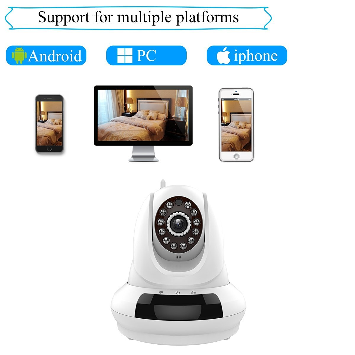Agazer Wireless IP Video 720P HD Camera WiFi Home Surveillance Security Monitor, Pan-Tilt Remote Motion Detection Monitoring for Baby/Nanny/Pet, Night Vision 2 Way Audio Mobile View (FI-366, White)