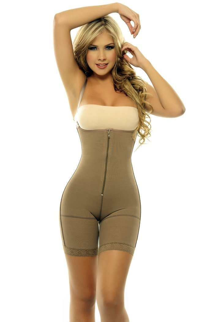 2e3bfbc083 Get Quotations · ShapEager Shapewear Powernet Braless Body Girdle Capri  Length Above the Knee