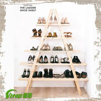 custom ladder wood shoes store design led light high heel shoes rack