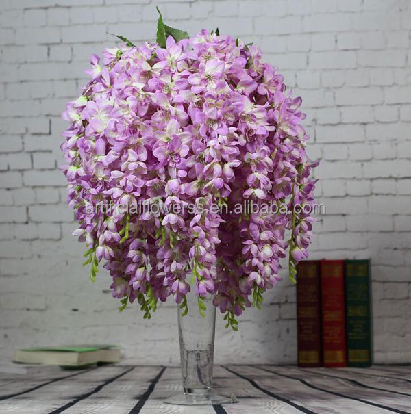 Artificial 5 branches silk wisteria flower Thailand orchid for wedding decoration