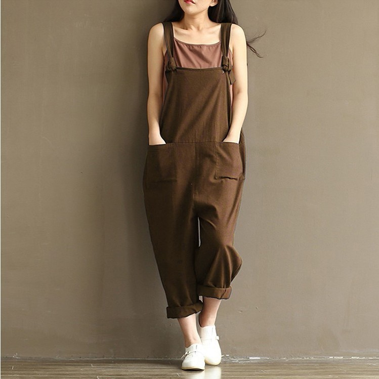 HOT Fashion Dames Meisjes Loose Solid Jumpsuit Band Dungaree Harembroek Dames Overall Broek Casual Speelpakjes