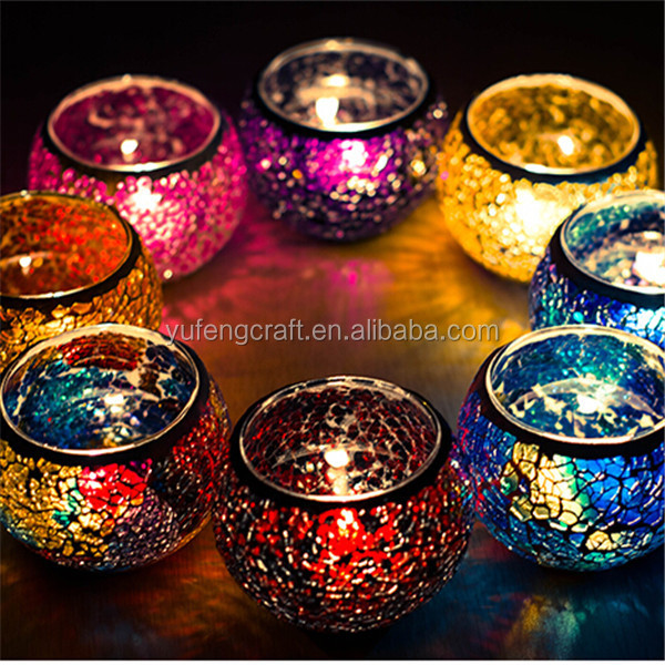 fancy glassware wholesale red mosaic glass candle holder