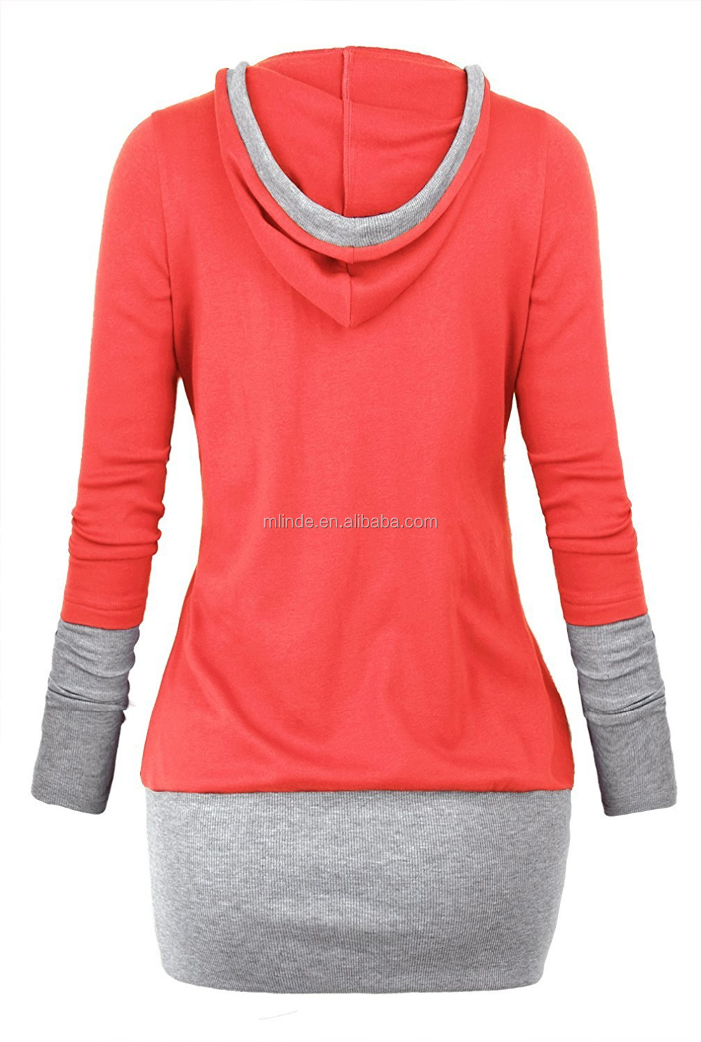 Manufacturers womens 2 color block hoodie casual shirt top for Custom shirts and hoodies cheap