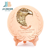 custom metal Qatar eagle logo rose gold souvenir metal plate for wholesale