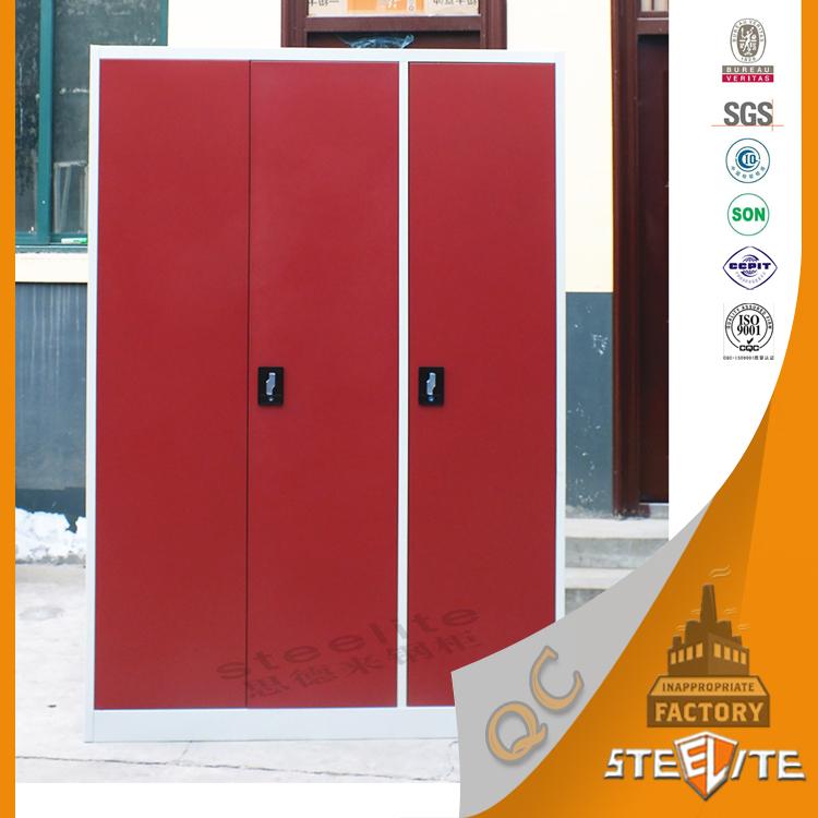 Luoyang Steelite Steel Or Iron Wardrobe Design 3 Door Red Bedroom Clothes  Almirah With Safe Locker - Buy Steel Or Iron Wardrobe Design,3 Door Bedroom
