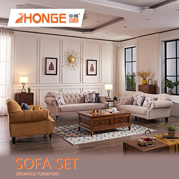 Turkish Furniture Upholstered Antique Clical French Style Sofas Fabric Chesterfield Sectional Sofa Set