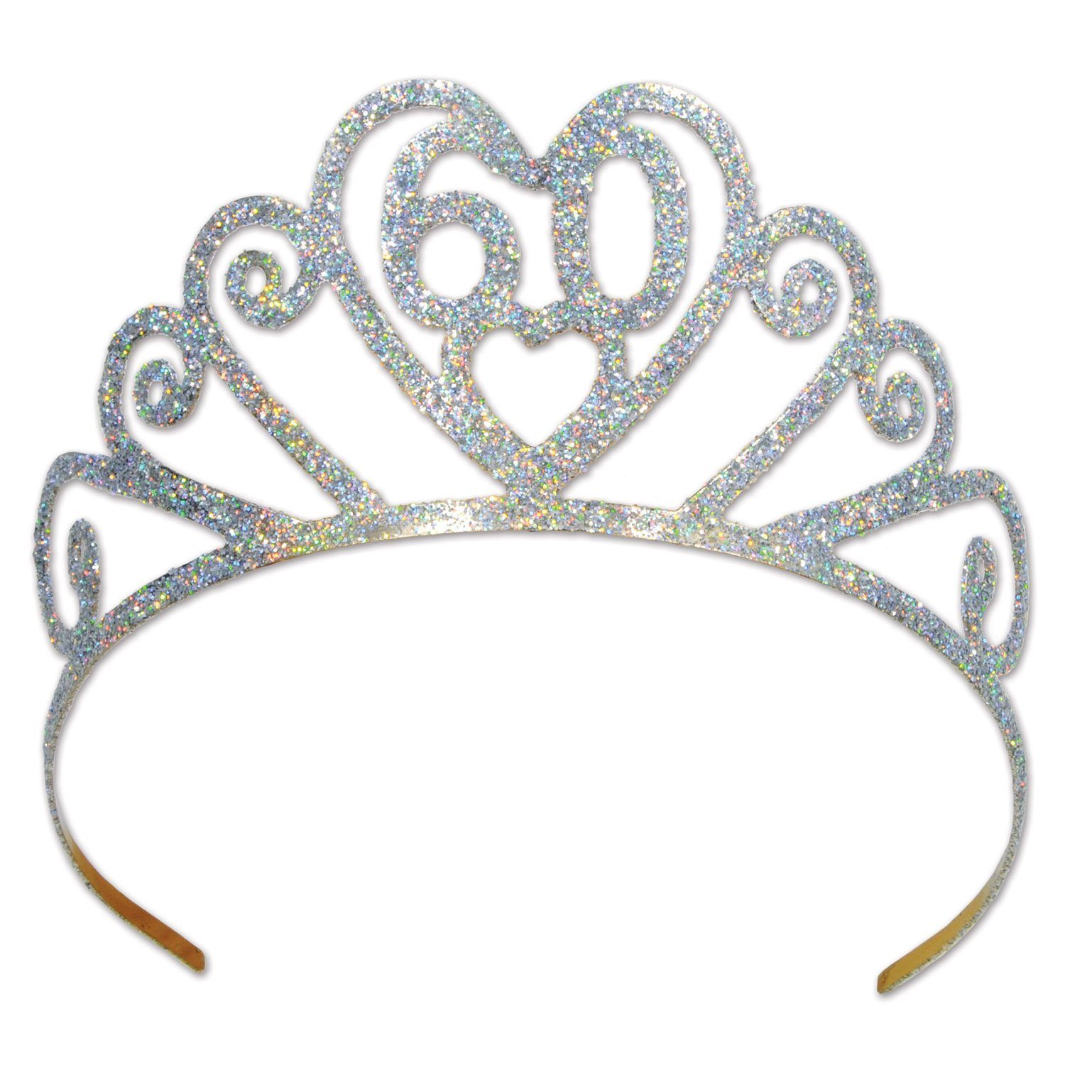 "Beistle 60633-60 Glittered Metal ""60"" Tiara, Silver"