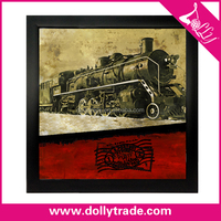 60*60cm old train fabric painting designs images printed on canvas for sale