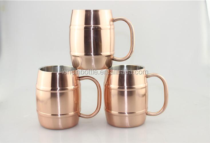 Barrel Copper Mug Barrel Shaped Stainless Steel Copper