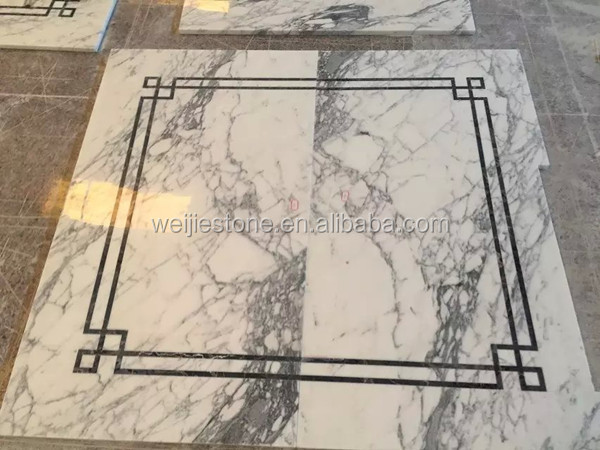 Vokalas White Marble Simple Water Jet Medallion Design