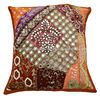 ORANGE EMBROIDERED CUSHION COVER PATCHWORK PILLOW CASE HANDMADE THROW INDIA