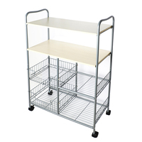 Metal movable white kitchen island cart