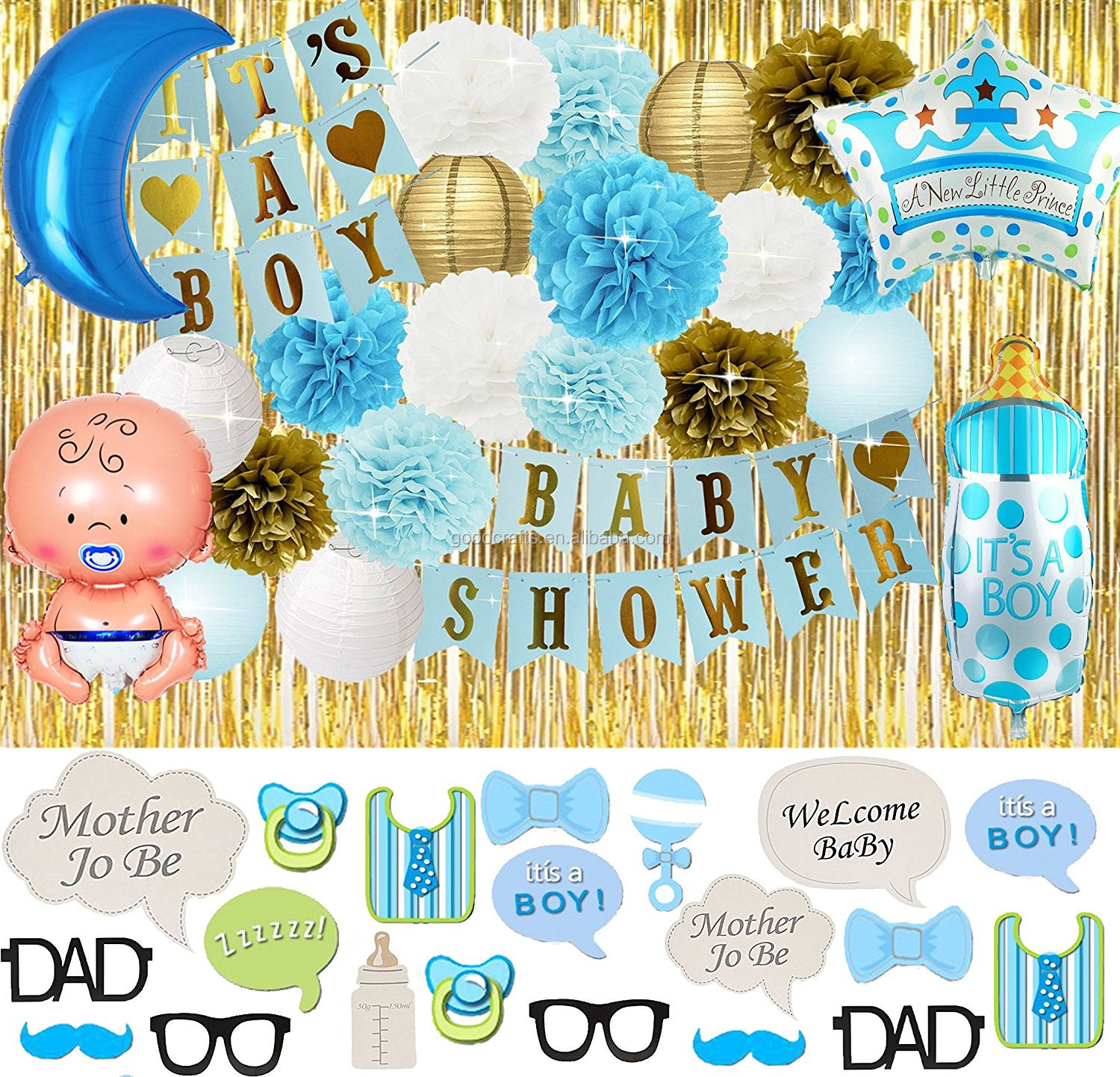 2018 Amazon It's A Boy Baby Shower Banner Balloon Pom Poms Favors Party  Decorations For Boys Baby Shower Decoration Set