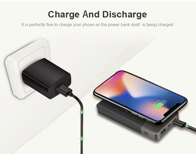 custom RoHS CE FCC portable wholesale Qi wireless charger power bank 5000mAh