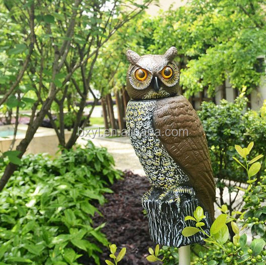 Owl Decoy Garden Defense Electronic Sound And Light Can Be Added