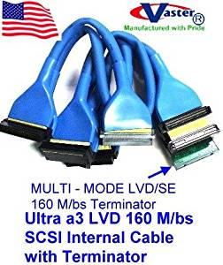 5 PCS / PACK, Round Ultra a3 LVD 160 M/bs SCSI Internal Cable with Terminator, (5 Connector 4 Drive)