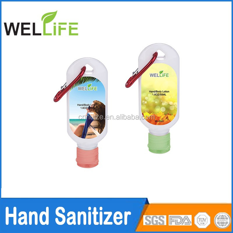 Private label 1 OZ waterloze instant handdesinfecterend met karabijnhaak