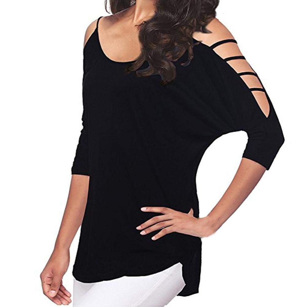 9e5a2d6d8407b7 Howstar Women's Casual Loose T-Shirt Sexy Off Shoulder Cut Out Slit Sleeve  Shirts Cold