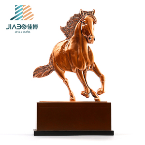 customized award antique copper horse logo trophy metal trophy wholesale price with wood base