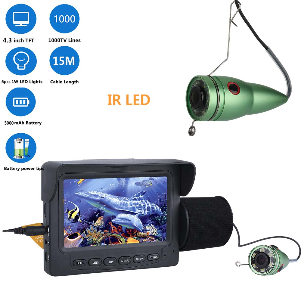 "15M 1000TVL Fish Finder Underwater <strong>Fishing</strong> Camera 4.3"" LCD Monitor 6PCS 1W IR LED Night Vision Camera For <strong>Fishing</strong>"
