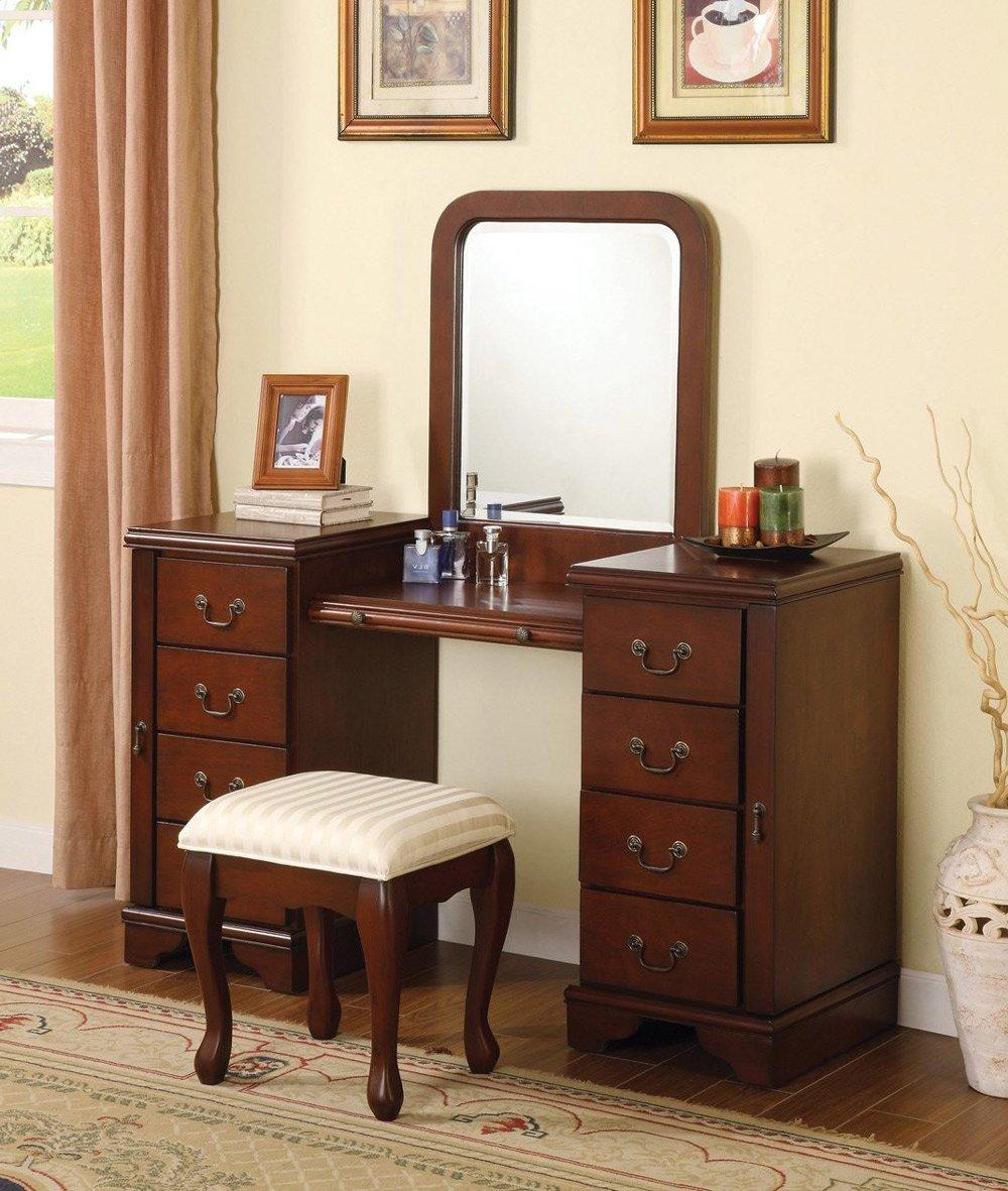 Elizabeth 3 Piece Vanity Set in Cherry Brown with Hidden Side Panel - Vanity, Vanity Mirror & Bench