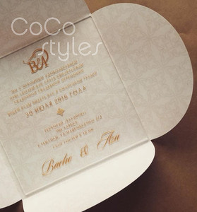 Cocostyles diy creative engraving acrylic invitation card with gold mirror acrylic name tag and envelope for travel wedding