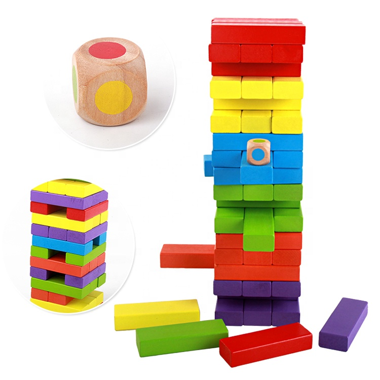 Free Sample Board Game Education Colorful Wooden Domino Blocks Toy