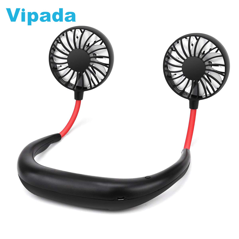 Wearable Hand Free Mini Neck Band Fan Neckband Electric Rechargeable Battery Sport Fan Portable Sports Wear Hanging Neck Fan