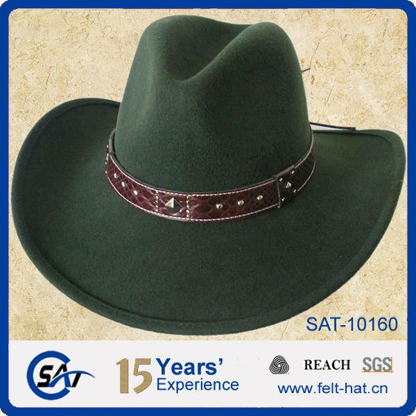 Dark Moss Green Western Looking Wool Felt Cowboy Hat With Leather  Band c702f42f4f0