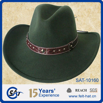 e0926e7e9c4 Dark moss green Western looking wool felt cowboy Hat with leather band