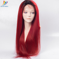 wholesale cheap 150% density dark root 1B Burgundy 100% Chinese human hair full lace sew in wig
