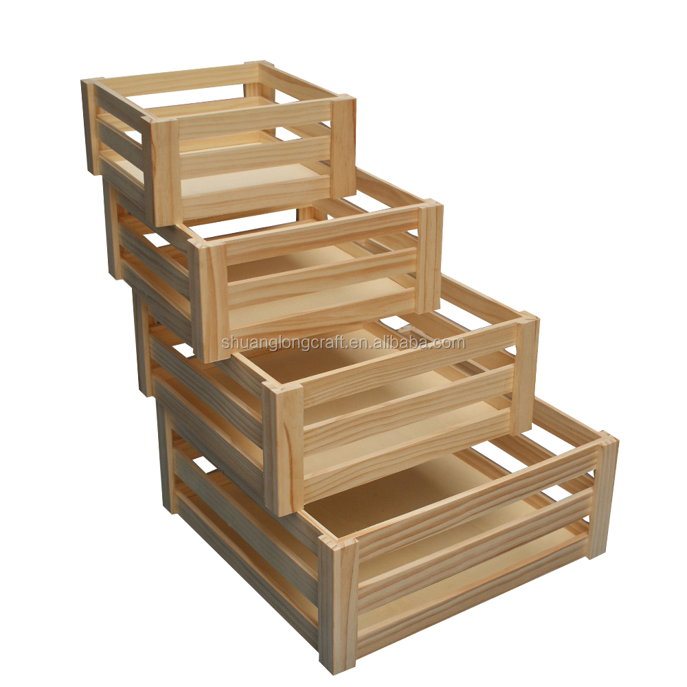 Handmade wooden crate for fruit and vegetables solid for Wooden fruit crates