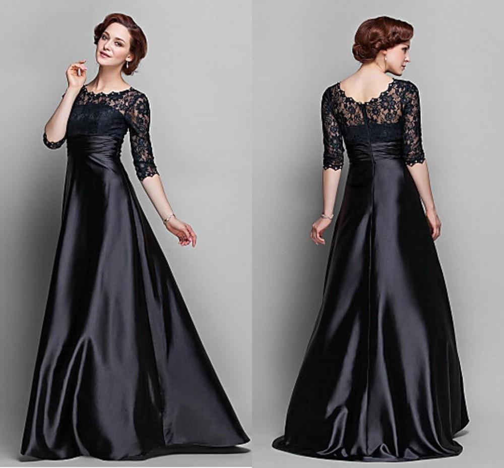 Elegant 2016 Mother Dresses Black Crew Half Sleeve Plus