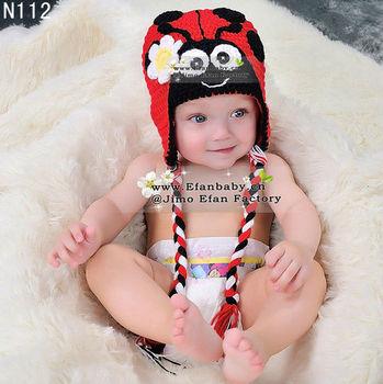 Hecho a mano lindo bebé animal mariquita sombrero para niños niñas apoyos  de la foto de b57be312dd9