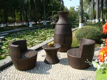Stackable Plastic Bamboo Outdoor Garden Set Furniture Molded Modern