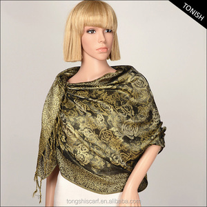 2016 Autum/Winter shawl hijab and Jacquard floral pashmina with yarn dyed pattern scarf