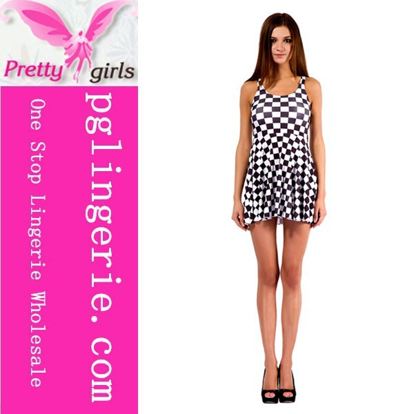 Classics Black & White Checkered Flag Racing Print Skater Dress
