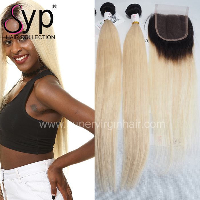 1B 613 Straight 3 Bundles with 1 Piece 13x4 Swiss Lace Frontal, Natural Black Dark Root to Honey Blonde Hair African Weft