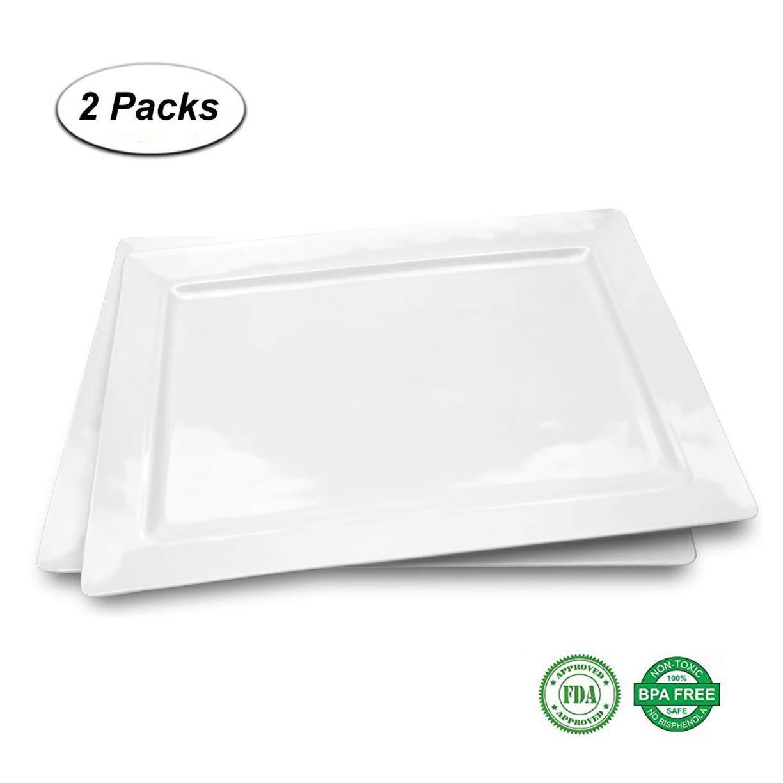 "Melamine 15.875"" x 10.875"" Serving Tray, Rectangular Platter| set of 2 White Color |Shatter-Proof and Chip-Resistant Dishwasher Safe and BPA free"