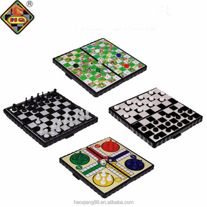 Set of 4 Magnetic Travel Board Games Chess Ludo Snakes and Draughts Game