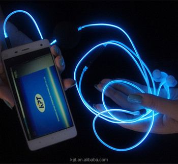 Flash glowing el neon earphone wire with multi color
