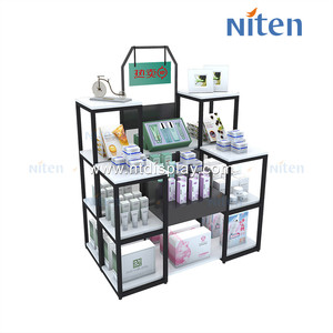 Double sided multi layer hole plate display rack customized decoration display shelf cosmetics flooring display stand