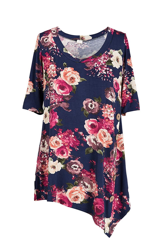 cba01fed1a88 Get Quotations · Fashionomics Women's Sleeveless A Line Asymmetrical Hem  Button Embellished Tunic Tops
