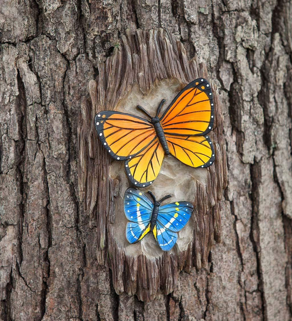 Carved Resin Tree Decor - Butterflies, 5.50 W x 1.75 D x 10 H