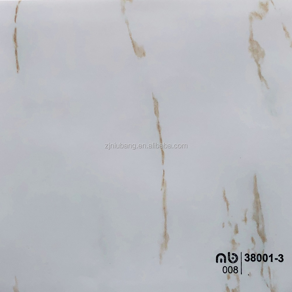 High gloss marble design PVC membrane foil for pvc wallboard