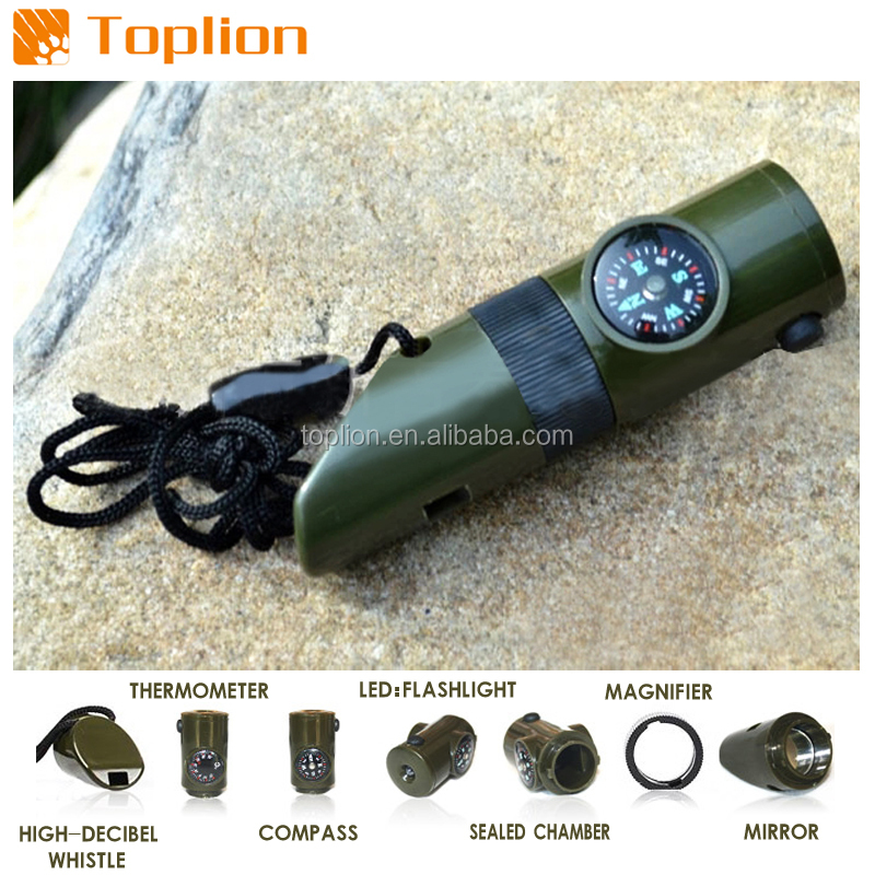 7 in 1Army Green camping Survival Emergency with Compass Outdoor Whistle