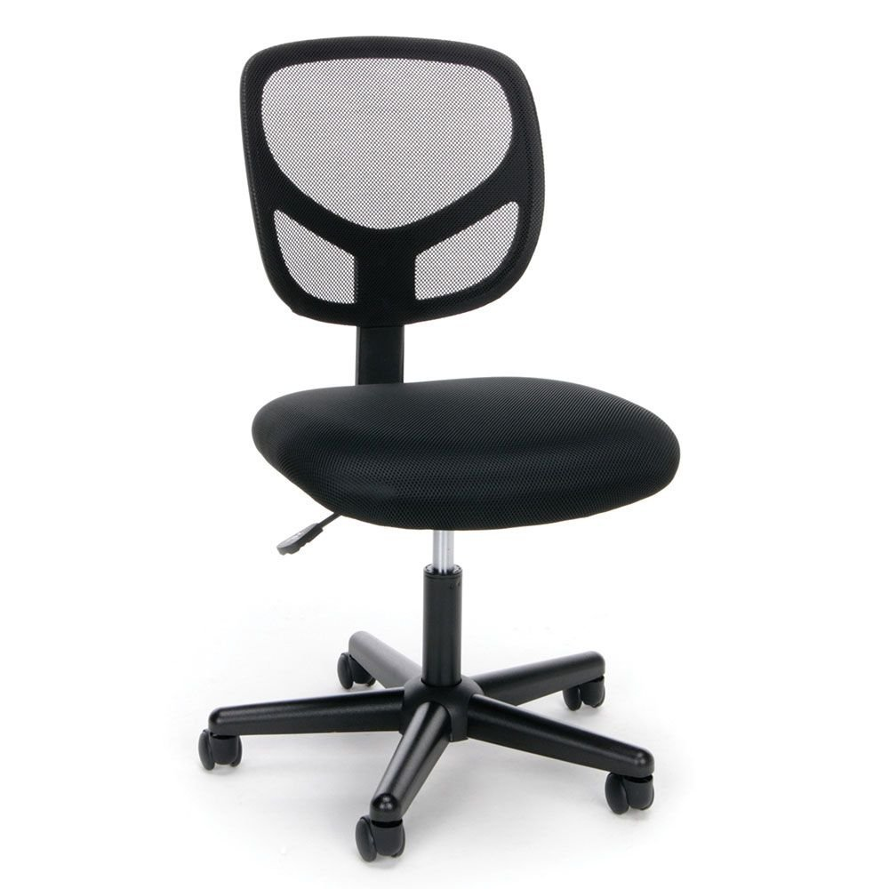 """Essentials Mesh Back Simple Armless Task Chair Dimensions: 24.25""""W x 24.5""""D x 35.50""""H Seat Dimensions: 18""""Wx17.75""""Dx18.25-20.5""""H Black Mesh Back/Black Mesh Fabric Seat/Black Base"""